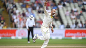 Nathan Lyon wheels away in celebration