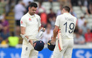 James Anderson and Chris Woakes react after England are bowled out on the final day, England v Australia, 1st Test, Birmingham, 5th day, August 5, 2019