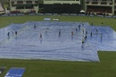 The groundstaff works on the covers, West Indies v India, 3rd T20I, Guyana, August 6, 2019