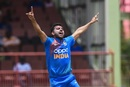 Deepak Chahar celebrates a wicket, West Indies v India, 3rd T20I, Providence, August 6, 2019