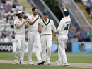 Mitchell Starc celebrates his early breakthrough, Worcestershire v Australians, Tour match, Worcester, Day 1, August 7, 2019