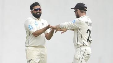 Ajaz Patel celebrates a wicket with Kane Williamson