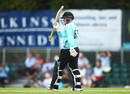 Lizelle Lee raises her bat on reaching fifty, Surrey Stars v Lancashire Thunder, Kia Super League, Guildford, August 8, 2019