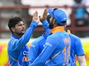 Kuldeep Yadav celebrates a wicket, West Indies v India, 1st ODI, Guyana, August 8, 2019