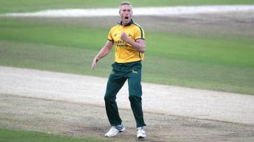 Luke Wood celebrates a wicket