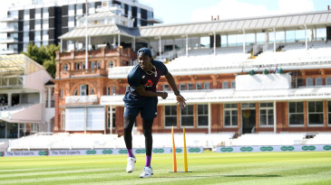 Jofra Archer bowls during a nets session at Lord's