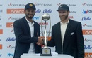 Dimuth Karunaratne and Kane Williamson pose with the trophy before start of play, Sri Lanka v New Zealand, 1st Test, Galle, 1st day, August 14, 2019