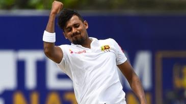 Suranga Lakmal celebrates a wicket