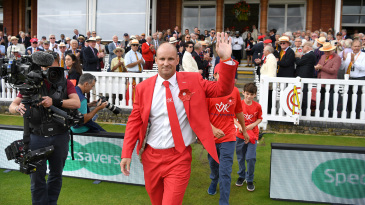 Andrew Strauss leads the teams out to mark Ruth Strauss Foundation Day