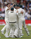 Australia mob Cameron Bancroft after his brilliant short-leg catch to dismiss Rory Burns, England v Australia, 2nd Test, Lord's, 2nd day, August 15, 2019
