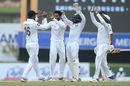 Dhananjaya de Silva celebrates the wicket of Jeet Raval, Sri Lanka v New Zealand, 1st Test, Galle, 3rd day, August 16, 2019