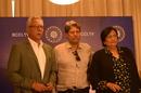 Anshuman Gaekwad, Kapil Dev and Shanta Rangaswamy after a CAC meeting, Mumbai, August 16, 2019