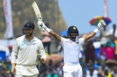 Dimuth Karunaratne celebrates his Test century, Sri Lanka v New Zealand, 1st Test, Galle, 5th day, August 18, 2019
