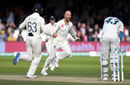 Jack Leach celebrates after trapping Cameron Bancroft lbw, England v Australia, 2nd Test, Lord's, 5th day, August 18, 2019