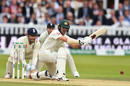 Travis Head gets low to sweep, England v Australia, 2nd Test, Lord's, 5th day, August 18, 2019