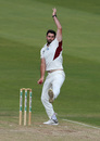 Brett Hutton gets into his delivery stride, Northamptonshire v Lancashire, County Championship Division Two, Northampton, July 08, 2019