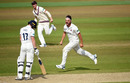Jack Brooks roars in celebration after dismissing Rob Yates, Warwickshire v Somerset, 1st day, County Championship, Edgbaston