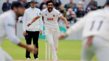Mohammad Amir celebrates after taking another wicket for Essex