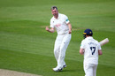 Rikki Clarke celebrates the wicket of Sam Northeast on the way to his seven-for, Surrey v Hampshire, County Championship, The Oval, August 19, 2019