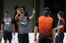 Trent Boult gestures happily during a training session, Colombo, August 20, 2019