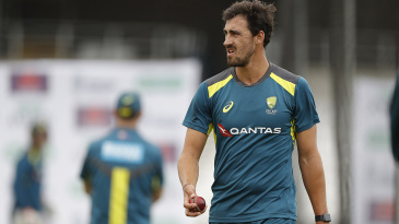 Mitchell Starc bowled a quick spell in the nets