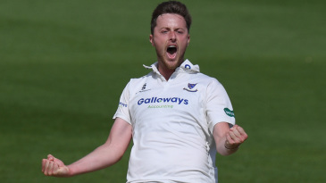 Ollie Robinson roars at the fall of another wicket
