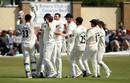 Richard Gleeson is mobbed by his team-mates, Glamorgan v Lancashire, County Championship, Division Two, Colwyn Bay, August 20, 2019