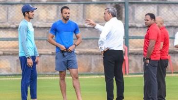 Match referee Sunil Chaturvedi talks to Shubman Gill and Faiz Fazal
