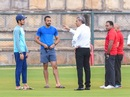 Match referee Sunil Chaturvedi talks to Shubman Gill and Faiz Fazal as Nitin Menon and Virender Sharma look on, India Blue v India Green, Just Cricket Academy Ground, 4th day, August 20, 2019