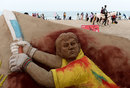 A sand sculpture of MS Dhoni on Elliot's Beach in Chennai, May 10, 2019