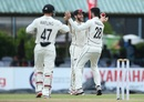Kane Williamson and William Somerville celebrate Lahiru Thirimanne's wicket, Sri Lanka v New Zealand, 2nd Test, Colombo, 1st day, August 22, 2019