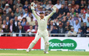 Jonny Bairstow appeals with success for the wicket of Usman Khawaja, England v Australia, 3rd Ashes Test, Headingley, 1st day, August 22, 2019