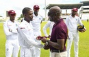 Sir Viv Richards hands over the West Indies maroon cap to debutant Shamarh Brooks, West Indies v India, 1st Test, North Sound, August 22, 2019