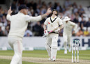 David Warner reacts after edging behind, England v Australia, 3rd Ashes Test, Headingley, 1st day, August 22, 2019