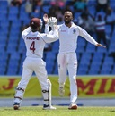 Roston Chase celebrates KL Rahul's dismissal with Shai Hope, West Indies v India, 1st Test, North Sound, 1st day, August 22, 2019