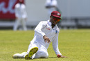 Kraigg Brathwaite tries to stop a ball, West Indies v India, 1st Test, North Sound, 1st day, August 22, 2019