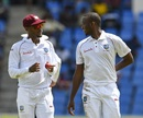 Kraigg Brathwaite and Miguel Cummins hatch a plan, West Indies v India, 1st Test, North Sound, 1st day, August 22, 2019