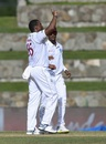 Shannon Gabriel celebrates a wicket, West Indies v India, 1st Test, North Sound, 1st day, August 22, 2019