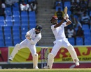 Roston Chase plays one off the back foot, West Indies v India, 1st Test, North Sound, 2nd day, August 23, 2019