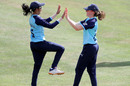 Jemimah Rodrigues and Beth Langston celebrate a dismissal, Yorkshire Diamonds v Lancashire Thunder, Scarborough, August 23, 2019