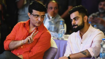 Sourav Ganguly chats with Virat Kohli at an event in Kolkata in 2018