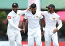 Dilruwan Perera is congratulated after picking up a wicket, Sri Lanka v New Zealand, 2nd Test, Colombo, 3rd day, August 24, 2019
