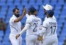 Mohammad Shami celebrates Jason Holder's dismissal, West Indies v India, 1st Test, North Sound, 3rd day, August 24, 2019