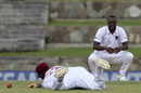 Kemar Roach looks on as John Campbell drops Ajinkya Rahane's catch, West Indies v India, 1st Test, North Sound, 3rd day, August 24, 2019