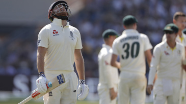 Jonny Bairstow throws his head back in disappointment