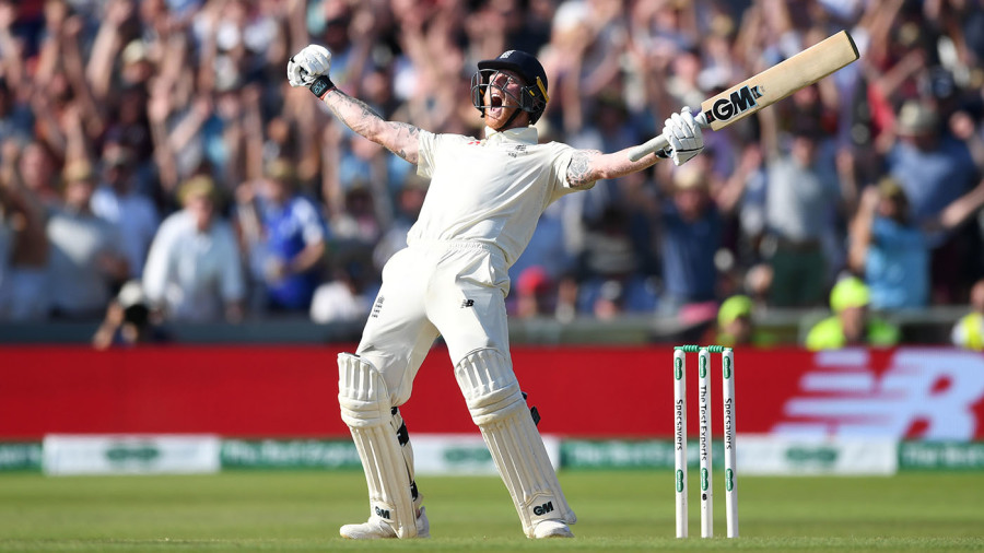 Ben Stokes lets out a roar after sealing England's win