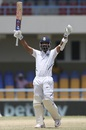 Ajinkya Rahane celebrates his hundred, West Indies v India, 1st Test, North Sound, 4th day, August 25, 2019