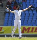 Jasprit Bumrah celebrates a wicket, West Indies v India, 1st Test, North Sound, 4th day, August 25, 2019