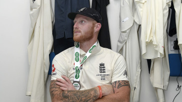 Ben Stokes sits in the Headingley dressing room after his match-winning innings