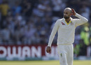 Nathan Lyon looks dejected ater fumbling the ball and missing a chance to run out Jack Leach with England needing two to win, England v Australia, 3rd Ashes Test, Headingley, August 25, 2019